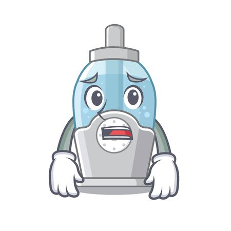 Afraid humidifier clings to the character wall vector illustration