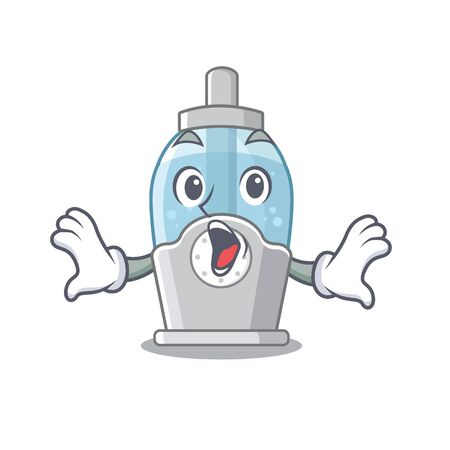 Surprised humidifier clings to the character wall vector illustration