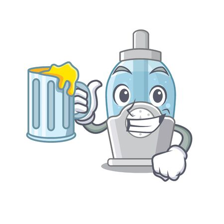 With juice humidifier clings to the character wall vector illustration