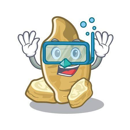 Diving jerusalem artichoke in the mascot shape vector illustration Ilustração Vetorial
