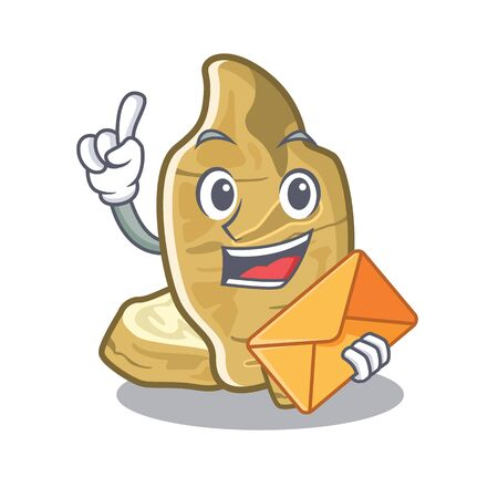 With envelope jerusalem artichoke in the mascot shape vector illustration
