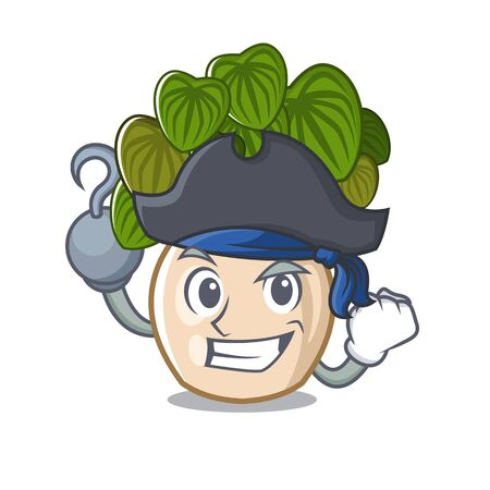 Pirate peperomia grows in a mascot pot vector illustration