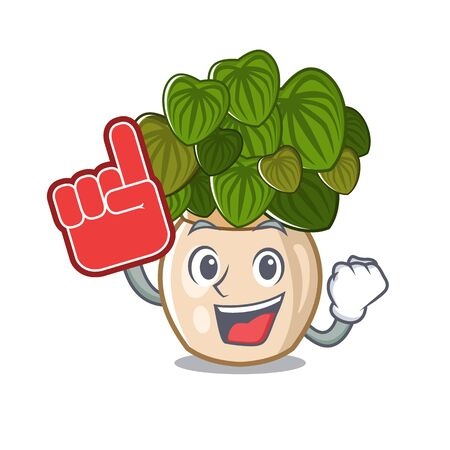 Foam finger peperomia with in the cartoon shape vector illustration Illustration
