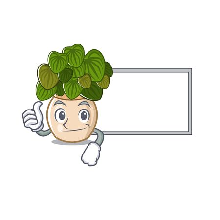 Thumbs up with board peperomia grows in a mascot pot vector illustration