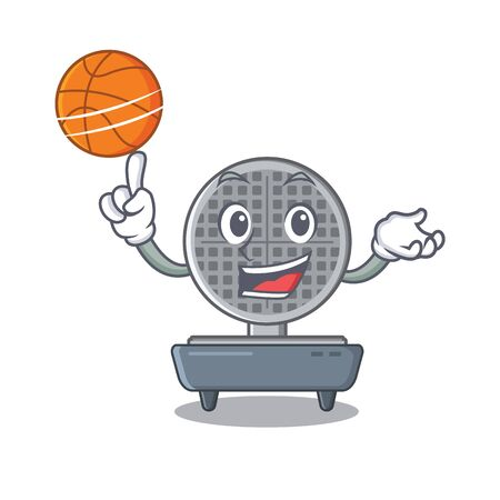With basketball waffle iron in the character shape vector illustration