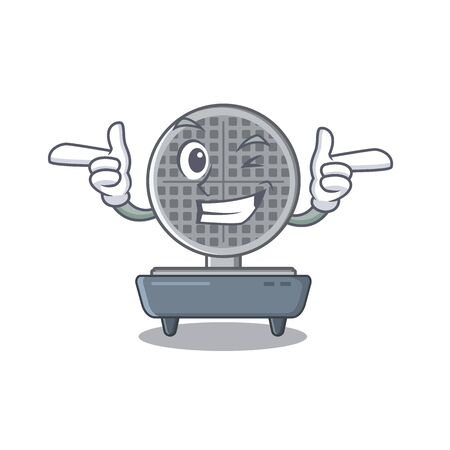 Wink waffle iron isolated in the cartoon vector illustration