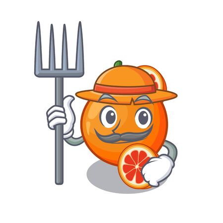 Farmer blood orange in mascot fruit basket vector illustration 일러스트