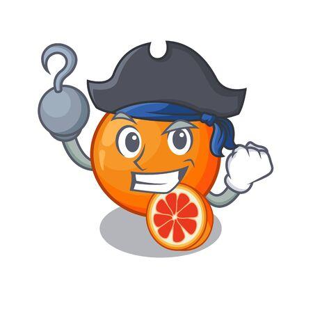 Pirate blood orange in mascot fruit basket vector illustration