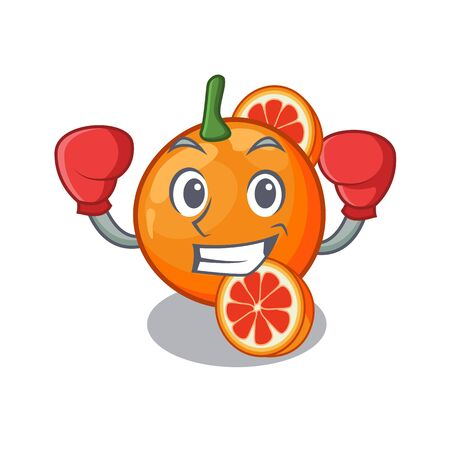Boxing blood orange in mascot fruit basket vector illustration Ilustração