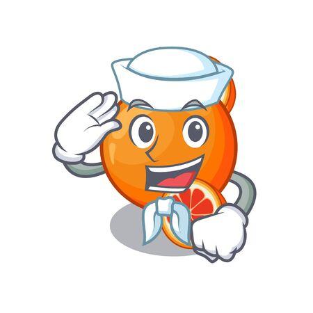 Sailor blood orange in mascot fruit basket vector illustration