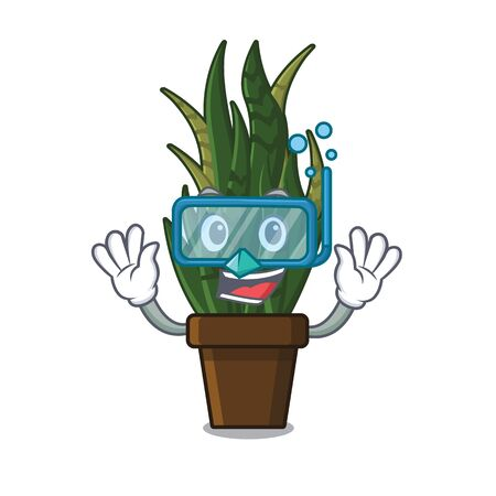 Diving plant snakes planted in cartoon pots