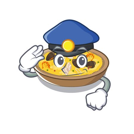 Police spanish paella served on mascot plate
