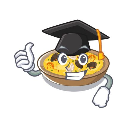 Graduation spanish paella cooked in cartoon skillet vector illustration