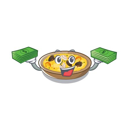 With money bag spanish paella dishes in cartoon shape vector illustration