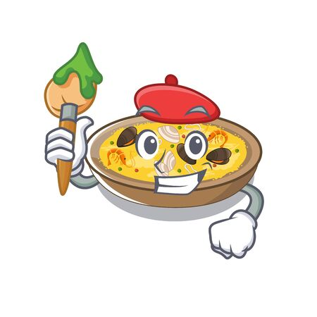 Artist spanish paella served on mascot plate