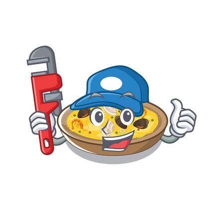 Plumber spanish paella isolated in the character vector illustration
