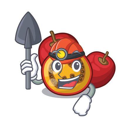 Miner tamarillo fruit in the character basket Illustration