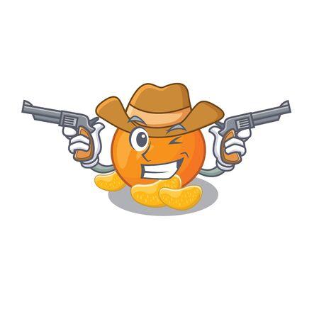 Cowboy mandarijn fruit plakjes op karakter plaat Vector Illustratie