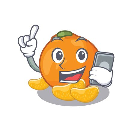 With phone tangerine fruit slices on character plate vector illustration