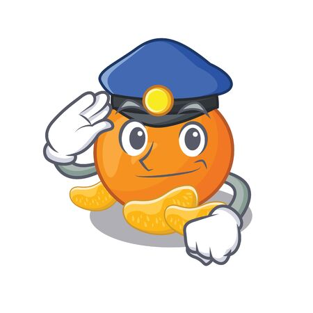 Police tangerine fruit slices on character plate