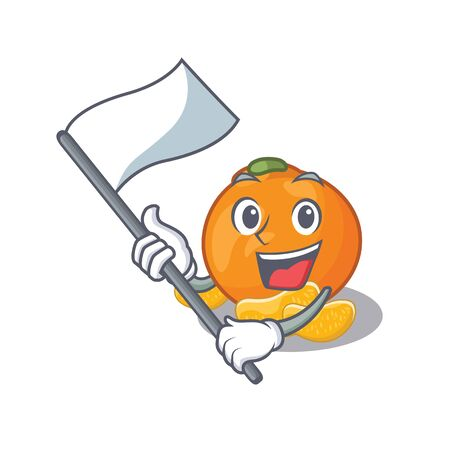 With flag tangerine isolated with in the cartoon vector illustration Ilustração
