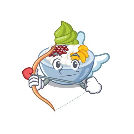 Cupid anmitsu is served in cartoon bowl vector illustration