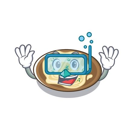 Diving hummus served above cartoon wooden table vector illustration