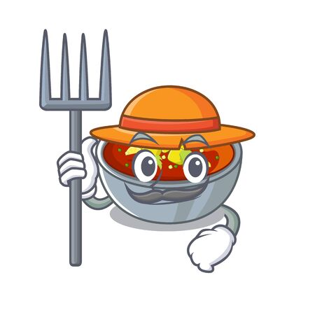 Farmer gazpacho is poured into cartoon bowl