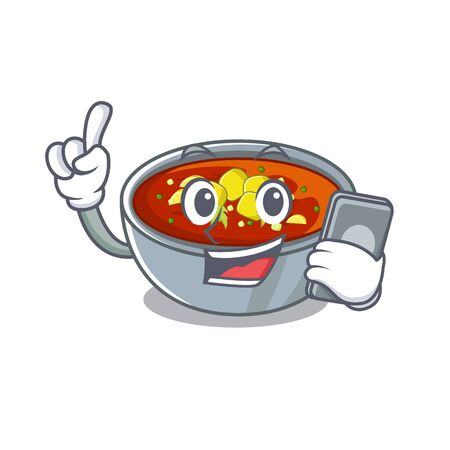 With phone gazpacho is poured into cartoon bowl vector illustration