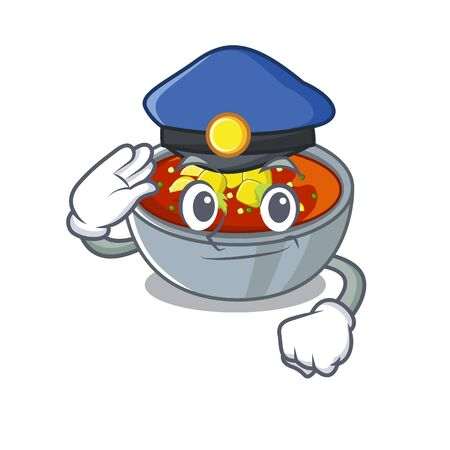 Police gazpacho is poured into cartoon bowl