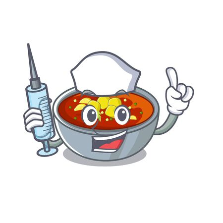 Nurse gazpacho is served to cartoon plate 일러스트