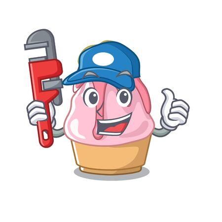 Plumber kakigori isolated with in the cartoon Illustration