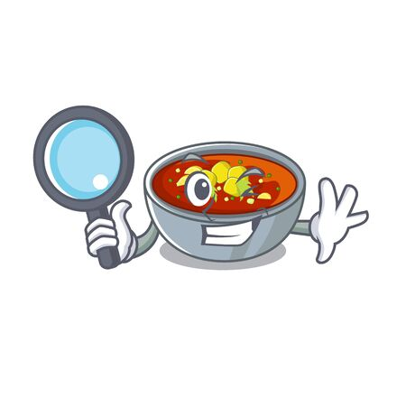 Detective gazpacho is served to cartoon plate