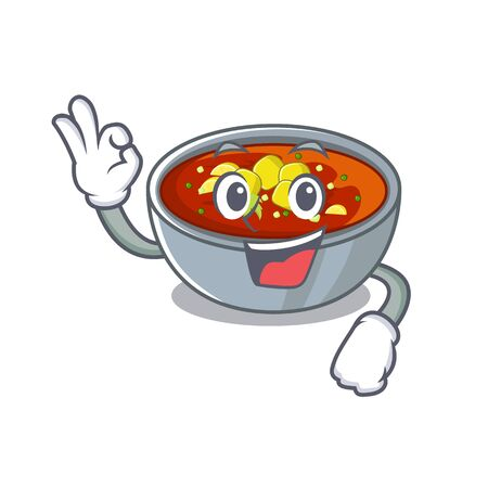 Okay gazpacho is served to cartoon plate vector illustration 일러스트