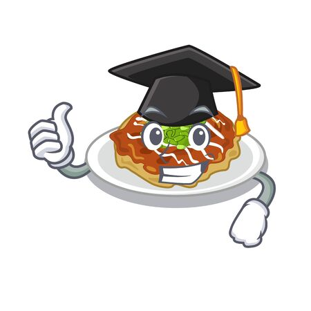 Graduation okonomiyaki in the a mascot shape vector illustration Archivio Fotografico - 128316632