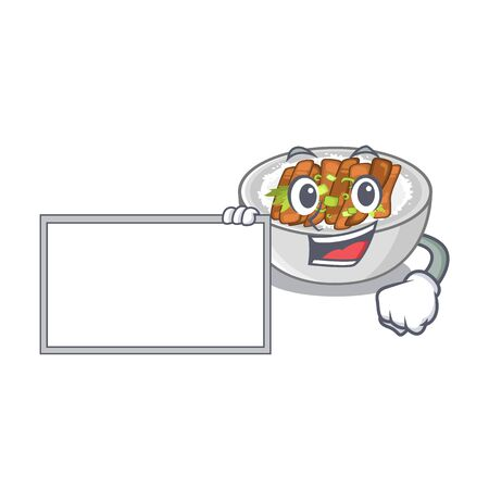 With board donburi isolated with in the mascot vector illustration
