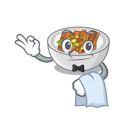 Waiter donburi is cooked in a skillet vector illustration Illustration