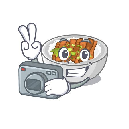 Photographer donburi is cooked in a skillet vector illustration Illustration