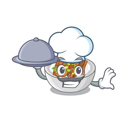 Chef with food donburi is cooked in a skillet vector illustration