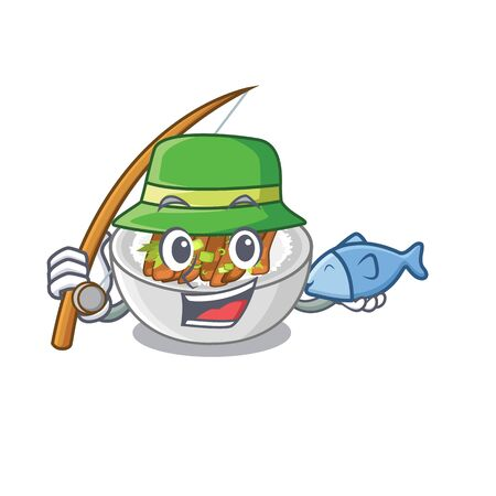 Fishing donburi is cooked in a skillet vector illustration