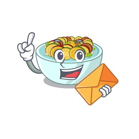 With envelope ratatouille with in the character shape vector illustration