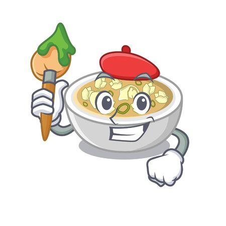 Artist wonton soup in the mascot shape