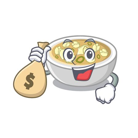 With money bag wonton soup in the mascot shape