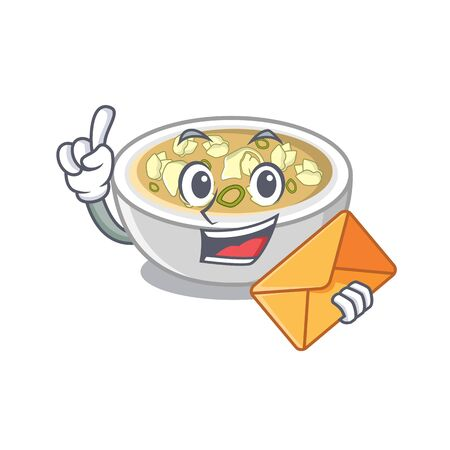 With envelope wonton soup isolated in the character vector illustration Illustration