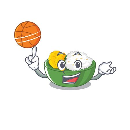 With basketball mango sticky rice isolated the character