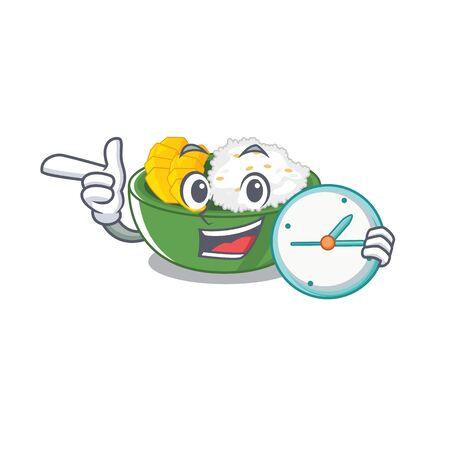 With clock mango sticky rice in cartoon plate