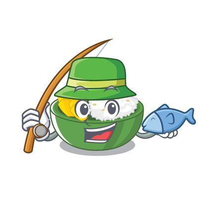 Fishing mango sticky rice in the cartoon