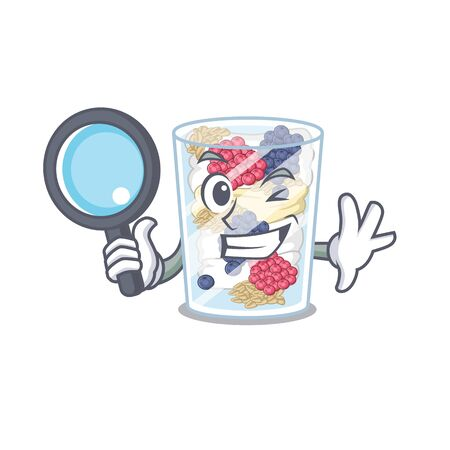 Detective cartoon parfait in the a fridge Ilustração