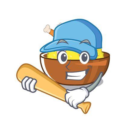 Playing baseball biryani chicken above the cartoon plate
