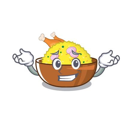 Grinning chicken biryani cooked in character skillet  イラスト・ベクター素材